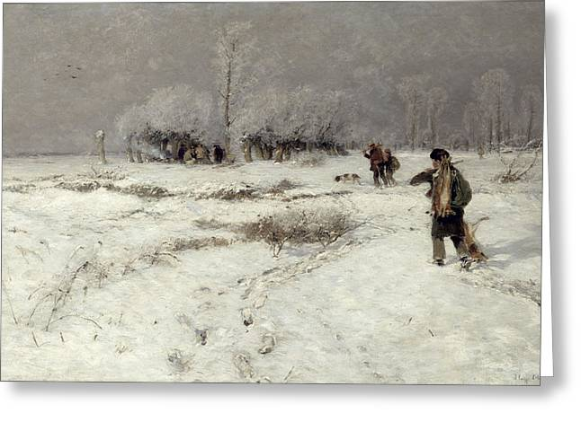 Hunting In The Snow Greeting Card by Hugo Muhlig
