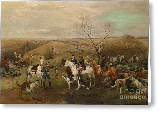 Hunting Party With Tsar Alexander IIi. And Zarina Maria Fedorovna Greeting Card by MotionAge Designs