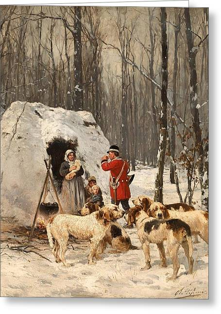 Hunting Scene In Winter Greeting Card by Mountain Dreams