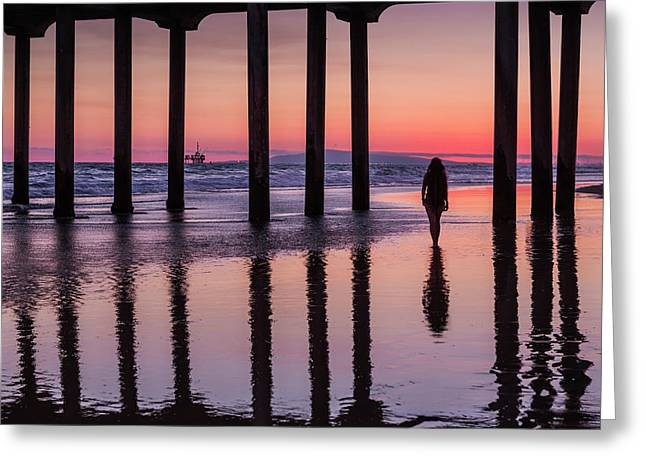 Huntingdon Beach Pier Silhouette At Sunset Greeting Card