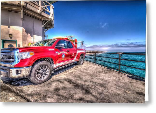 Huntington Beach Fire Greeting Card by Spencer McDonald
