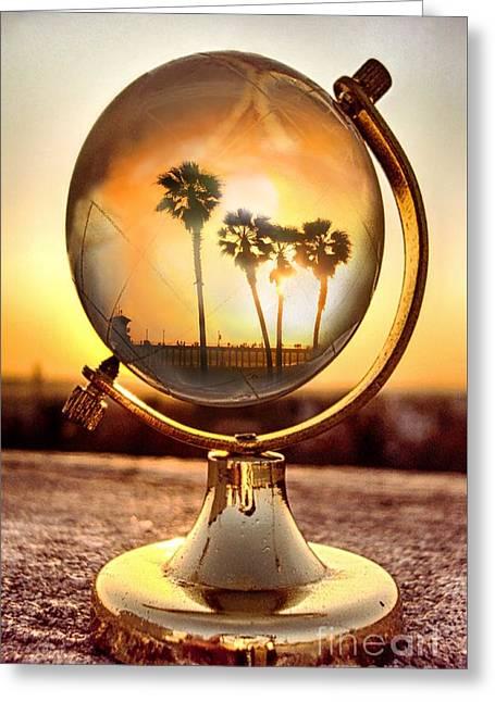 Huntington Beach Globe Greeting Card
