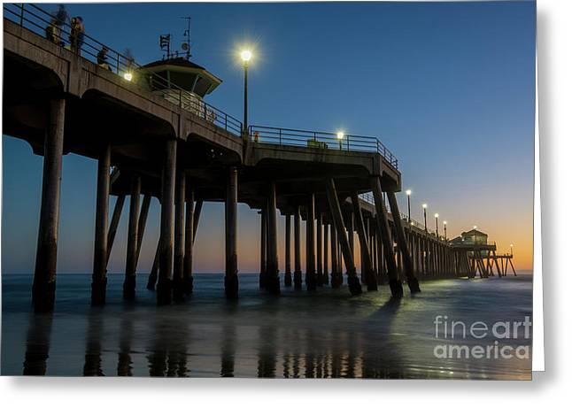 Huntington Beach Pier At Dusk Greeting Card