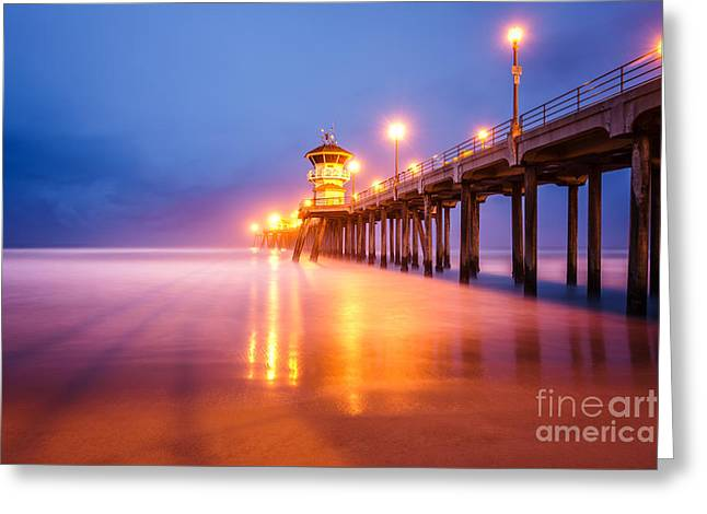 Huntington Beach Pier At Sunrise Greeting Card