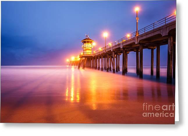 Huntington Beach Pier Greeting Cards - Huntington Beach Pier at Sunrise Greeting Card by Paul Velgos