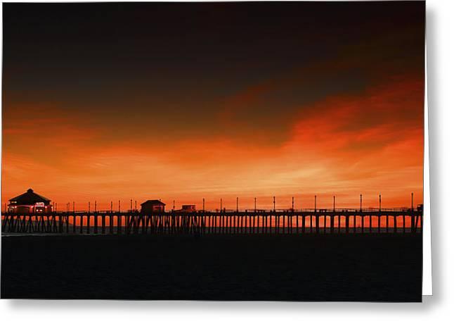 Huntington Beach Pier Greeting Card by DRK Studios