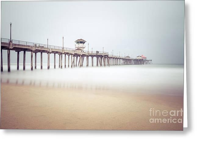 Huntington Beach Pier Foggy Morning Greeting Card by Paul Velgos