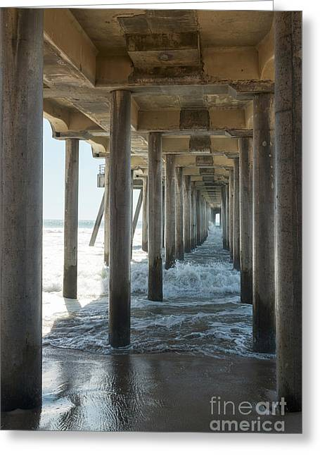 Greeting Card featuring the photograph Huntington Beach Pier From Below by Ana V Ramirez