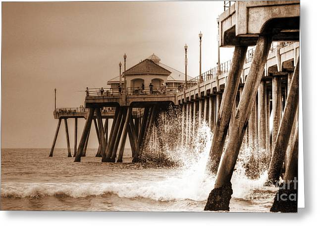 Huntington Beach Pier In Sepia Greeting Card