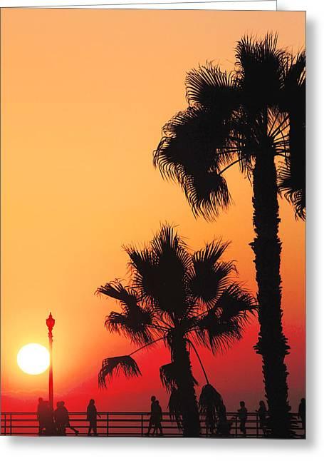 California Beach Art Greeting Cards - Huntington Beach Pier Sunset Greeting Card by Carol Mallillin-Tsiatsios