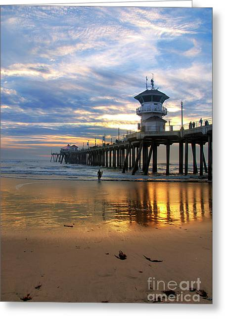 Huntington Beach Pier Sunset Greeting Card by K D Graves