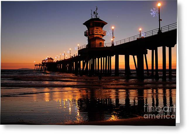 Huntington Beach Pier Greeting Card by Timothy OLeary