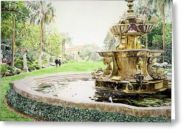Garden Statuary Greeting Cards - Huntington Fountain Morning Mist Greeting Card by David Lloyd Glover