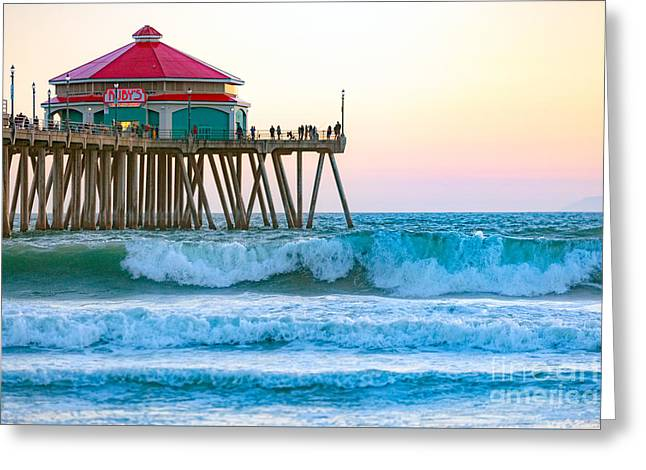 Greeting Card featuring the photograph Huntington Pier by Anthony Baatz