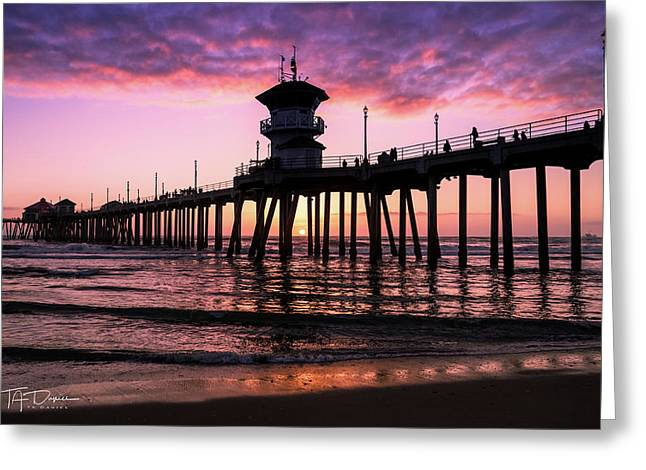 Huntington Pier At Sunset 2 Greeting Card