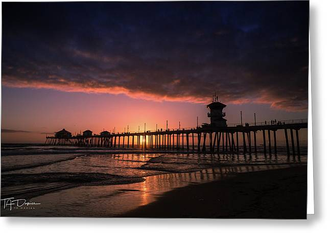 Huntington Pier At Sunset Greeting Card