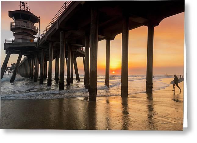 Huntington Sunset Surfer Greeting Card