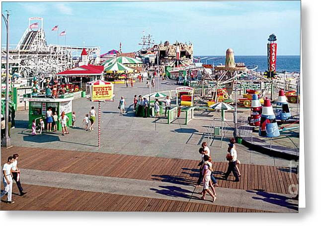 Hunts Pier In The 1960's, Wildwood Nj Sixties Panorama Photograph. Copyright Aladdin Color Inc. Greeting Card