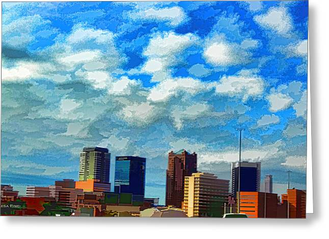 Huntsville Alabama Skyline Abstract Art Greeting Card by Lesa Fine