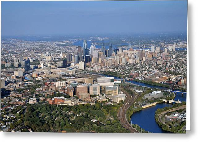 Hup And Chop Hospitals And Philadelphia Skyline Greeting Card by Duncan Pearson