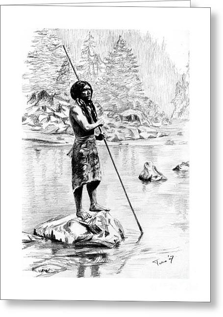 Hupa Fisherman Greeting Card by Toon De Zwart