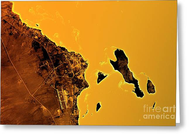 Hurghada Abstract City Map Golden Greeting Card by Frank Ramspott
