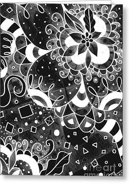 Hurlyburly 2 Reversed Greeting Card by Helena Tiainen
