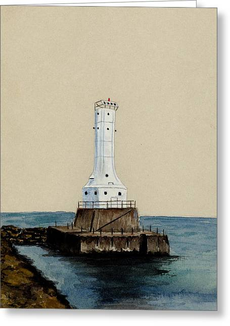 Huron Harbor Lighthouse Greeting Card by Michael Vigliotti