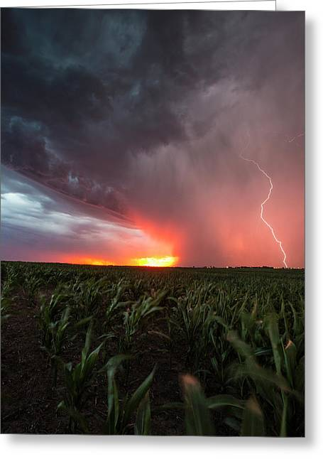 Greeting Card featuring the photograph Huron Lightning  by Aaron J Groen