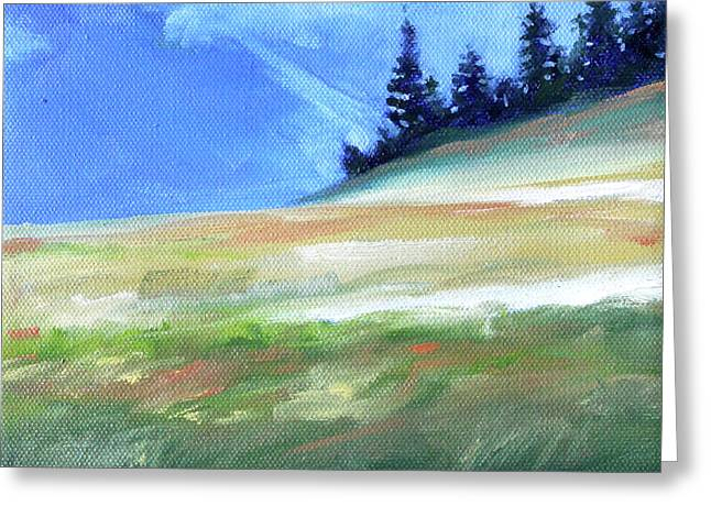 Greeting Card featuring the painting Hurricane Ridge by Nancy Merkle