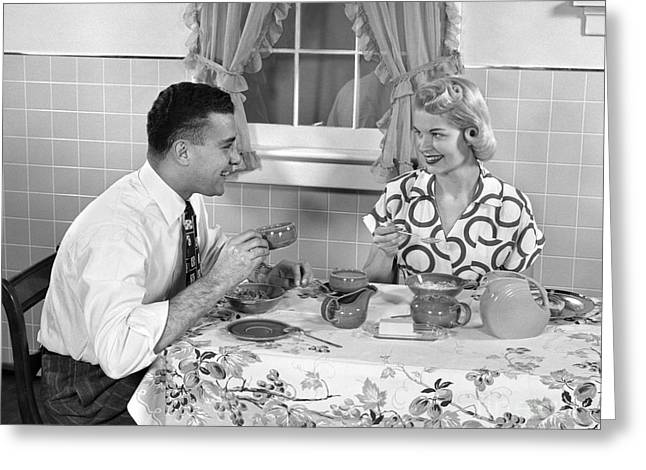 Husband And Wife Eating Breakfast Greeting Card by H. Armstrong Roberts/ClassicStock
