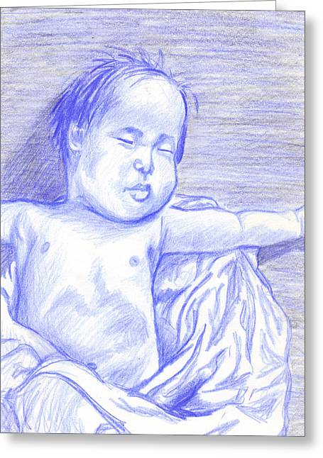 Greeting Card featuring the drawing Hush Little Baby by Jean Haynes
