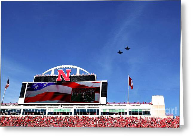 Husker Memorial Stadium Air Force Fly Over Greeting Card