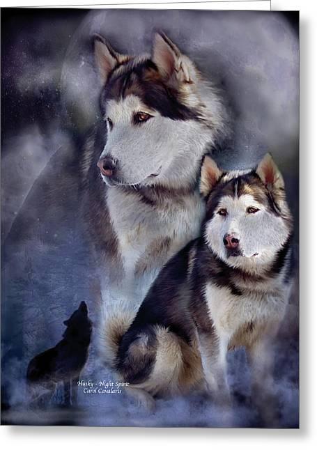 Husky - Night Spirit Greeting Card by Carol Cavalaris