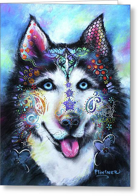 Husky Greeting Card by Patricia Lintner