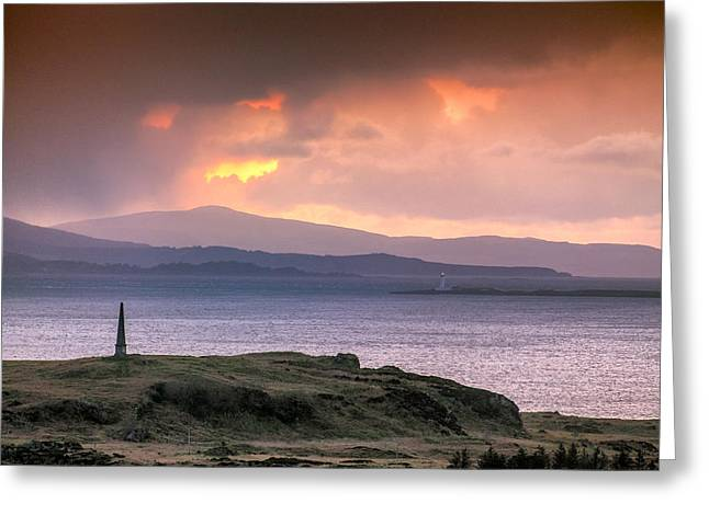 Hutcheson's Monument On The Isle Of Kerrera At Sunset Greeting Card
