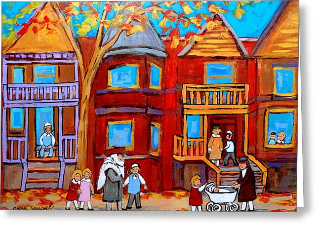Lubavitcher Greeting Cards - Hutchison Street Sabbath In Montreal Greeting Card by Carole Spandau