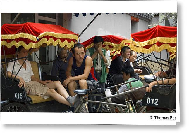 Greeting Card featuring the photograph Hutong Tour Driveres by R Thomas Berner