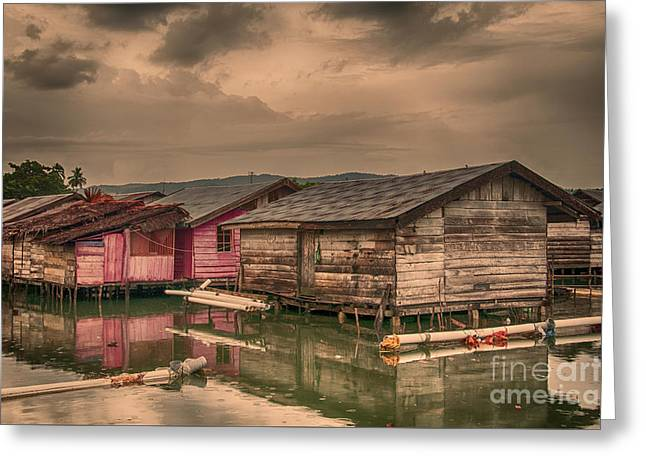 Greeting Card featuring the photograph Huts In South Sulawesi by Charuhas Images