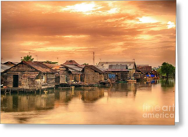 Greeting Card featuring the photograph Huts On Water by Charuhas Images