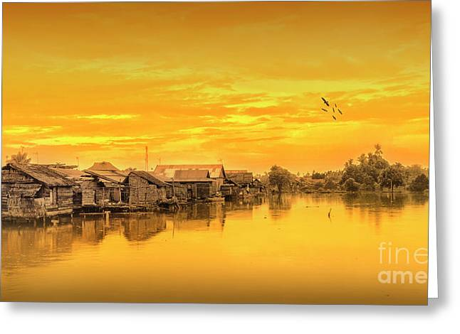 Greeting Card featuring the photograph Huts Yellow by Charuhas Images