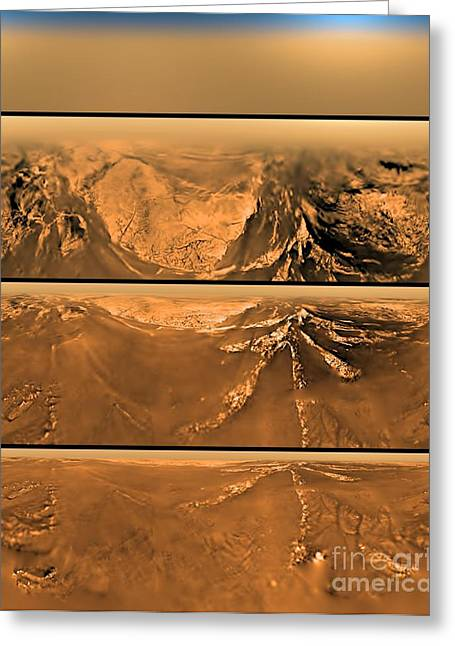 Probe Greeting Cards - Huygen Probes View Of Titan Greeting Card by Nasa