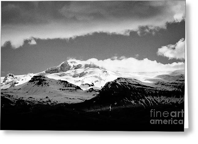 Hvannadalshnukur Highest Peak Of Oraefajokull Ice Covered Volcano Part Of Vatnajokull Glacier Greeting Card by Joe Fox