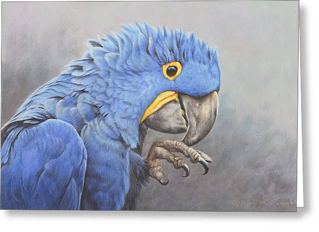 Greeting Card featuring the painting Hyacinth Macaw by Alan M Hunt