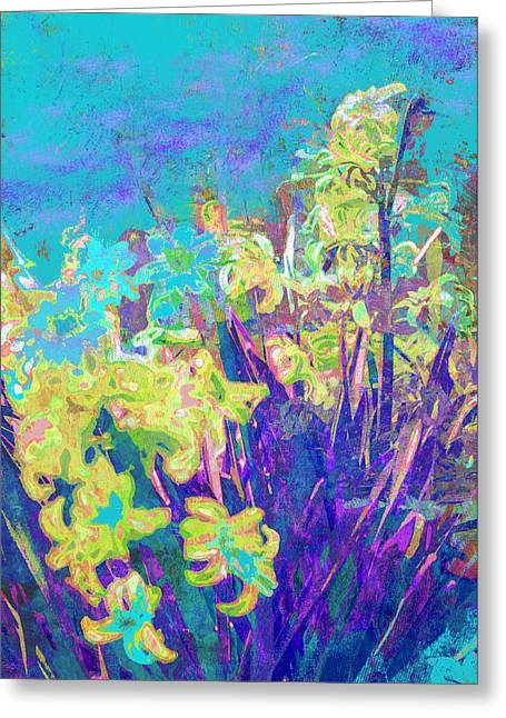 Hyacinths After The Style Of Van Gogh Greeting Card by Suzanne Powers