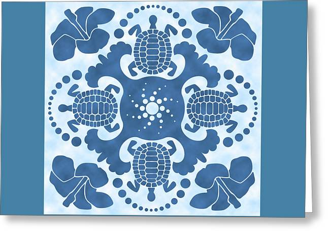 Hybiscus And Turtle Hawaiian Quilt Block Greeting Card