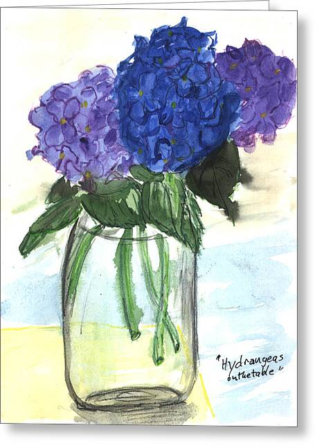 Hydangeas On The Table Greeting Card by Kevin Callahan