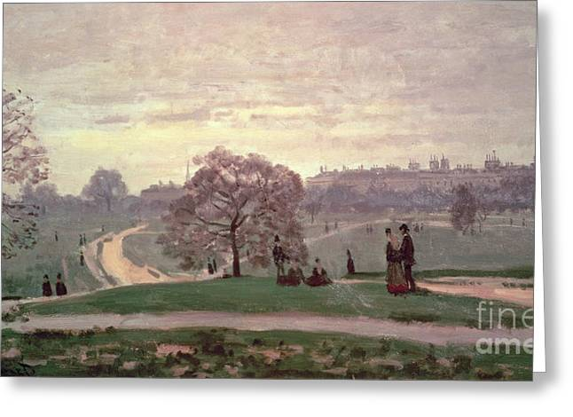 Hyde Park Greeting Card by Claude Monet