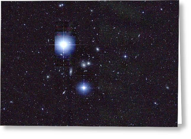Hydra Cluster, Abell 1060 Greeting Card by Science Source