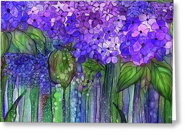 Greeting Card featuring the mixed media Hydrangea Bloomies 3 - Purple by Carol Cavalaris